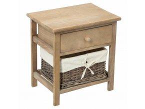 Noční stolek se šuplíkem a košíkem na drobnosti, regál do koupelny nebo chodby