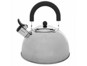 Čajová konvice s píšťalkou, na plynový sporák, nerezová ocel, 2 l, stříbrná barva
