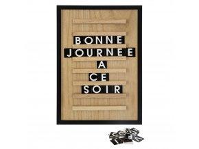 Dekorační tabule s odnímatelnými písmeny ze dřeva, 30x45 cm