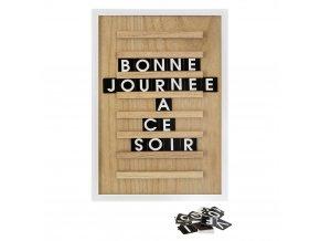 Bílá dřevěná tabule s citátem dne, 30x45 cm