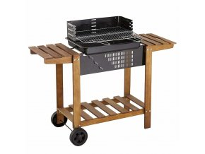 Gril zahradní s roštem z nerezové oceli, AZUR, mobilní stolek BBQ
