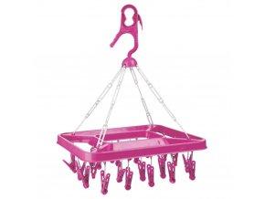 Závěsný sušák na prádlo, obdélníkový sušák na oblečení, růžová barva
