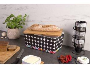 Chlebovka s prkénkem z bambusového vlákna, moderní box na potraviny s unikátní barevností