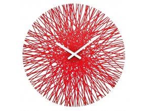 Nástěnné hodiny  SILK,kulaté - barva červená, KOZIOL