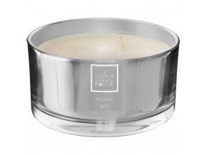 Vonná svíčka Alix v lesklé stříbrné skleněné misce o průměru 13,5 cm