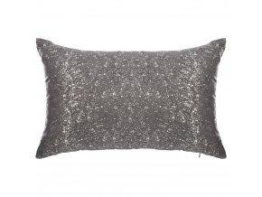 Polštář tmavošedý se stříbrnými aplikacemi, pěkná textilní dekorace místnosti – 50x30cm