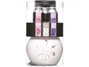 Skleněná aromalampa na éterické olejíčky, elegantní difuzér s květinovými olejíčky