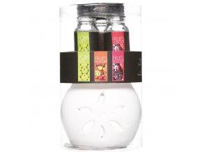 Skleněná aromalampa na vonné olejíčky, elegantní difuzér s ovocnými olejíčky