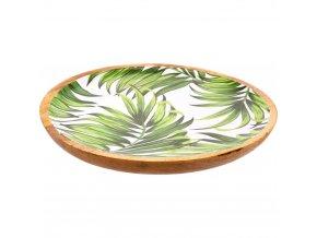 Velká dekorativní mísa s dřeva mango, dekorativní smaltovaný talíř s potiskem palmových listů