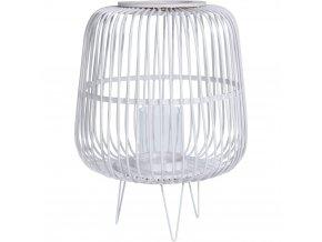 Dekorativní lampión pro svíčky v bílé barvě, bambusová lucerna se svícnu typu tealight