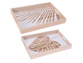 Dřevěné podnosy pro servírování s dekoračním motivem listů, sada obsahuje dvě obdélníkové tácy s držadly