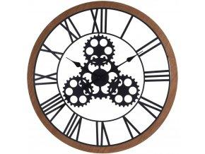 Černé nástěnné hodiny s kovu a dřeva, velké nástěnné hodiny ve tvaru kola, inspirovaný průmyslovou estetikou