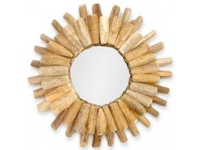 Kulaté zrcadlo-slunce v dřevěném rámu, nástěnná dekorace z přírodních materiálů