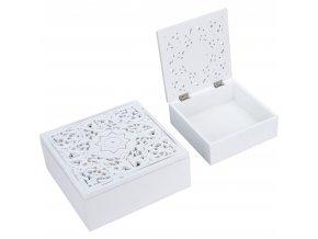 Dekorativní úložný box se zdobeným věkem, bílá dřevěná rakev na drobnosti, 2 ks