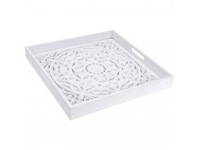 Dekorativní dřevěný podnos pro servírování se zdobeným dnem v bílé barvě, 40x5 cm