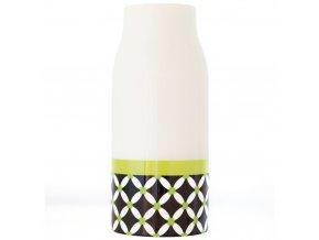 Ozdobná váza z porcelánu, vysoká nádoba v bílé barvě na květiny