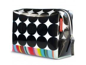 Dámská kosmetička z materiálu, barevný kufřík na kosmetiku