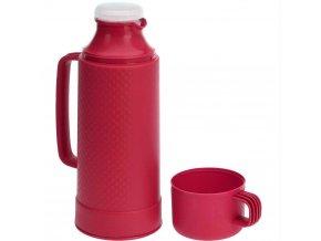 Termoska s 1L skleněnou patronou, praktická termoska na čaj a kávu s šálkem