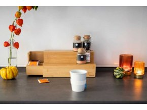 Bambusový organizér na kávu a čaj, dvouúrovňová skřínka s přihrádkami, WENKO