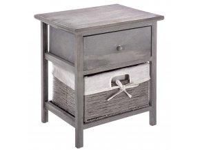 Šedý noční stolek ze dřeva paulovnie, stylová skříňka s praktickým šuplíkem a výsuvným košem
