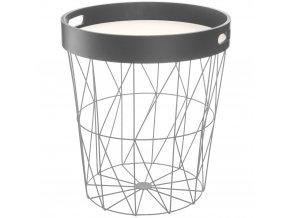 Odkládací stolek, praktický kus nábytku s košem na skladování a odnímatelným podnosem, neutrální šedá barva