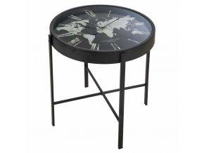 Odkládací stolek shodinami a mapou světa za sklem, originální a stylová dekorace do obývacího pokoje