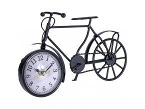 Dekorační hodiny ve tvaru jízdního kola z černého kovu, 23x13x7 cm