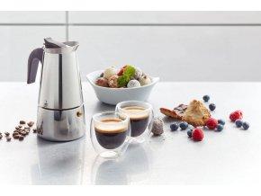 Kávovar na 4 šálky z nerezové oceli, moderní konvice na perfektní kávu