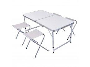 Skládací turistický stůl a čtyři židle z hliníku a plastu, 120x70 cm