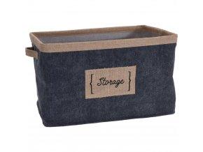 Denim textilní koš, krabička s dekorativním materiálem pro uložení předmětů.
