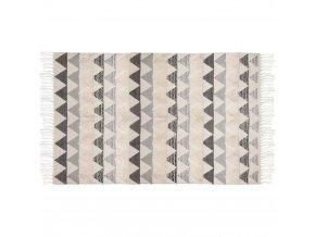 Bavlněný koberec se střapci, vícebarevná kobercová dlažba s atraktivním grafickým designem