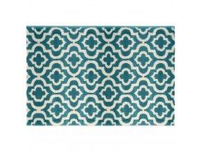 Modrý koberec se vzory, praktický chodník pro chodbu, pokoj nebo ložnici v orientálním stylu
