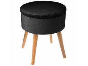 Čalouněný pouf otvor v černé barvě, dřevěná stolička s velurovou sedákem a úložným prostorem