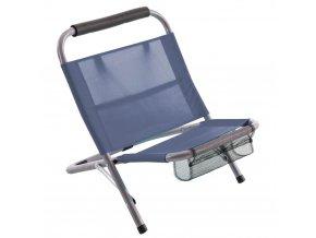 Skládací plážová židle LAZIO, zahradní křeslo, s kapsou, modrá