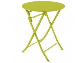 Kulatý zahradní stůl z kovu ve světle zelené barvě, 71x60 cm