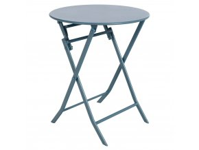 Kulatý balkonový stůl z kovu v modré barvě, 71x60 cm
