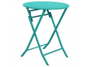 Balkón stůl, kulatý zahradní stůl, tyrkysová barva