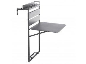 Hliníkový balkonový stůl v černé barvě FIRA, 60x20x87 cm