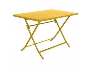 Kovový skládací zahradní stůl ve žluté barvě, 110x70x71 cm