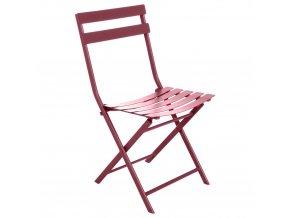 zahradní židle, skládací, pro balkon, barva červená marsala