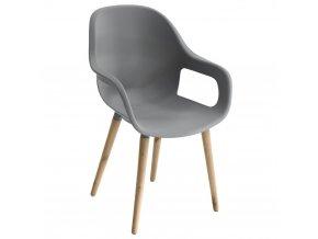 ESTIVA jídelní nebo obývací pokoj židle s dřevěnými nohami, šedá