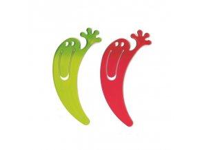 Záložka Jimmy, 2 ks, olivová a červená, KOZIOL