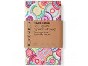 Vícebarevný obal na cestovní doklady z nepromokavého materiálu, 23,5x13 cm