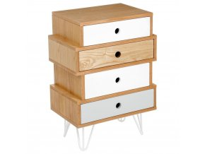Zásuvková skříň se 4 zásuvkami, ložnice stůl na ozdobných nohách