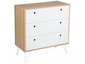 Zásuvková skříň se třemi zásuvkami, funkční kus nábytku s módním geometrickým vzorem