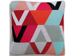 Pletený polštář, barevný povlak na polštář s pásy