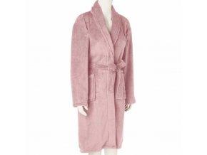 Dámský župan s kapsami svázané v růžové, praktické a stylové koupací kabát