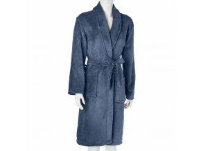 Dámský župan s kapsami svázané v modré, praktické a stylové koupací kabát