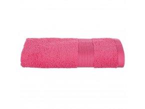 Bavlněná osuška s dekorativním bordyura v korálové barvě, stylový koupelnový textil