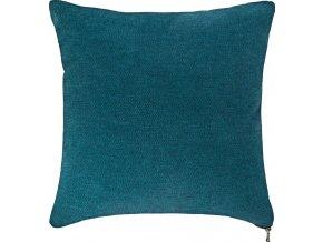 Modrý dekorativní polštář, hladký, lehký se zámkem 40x40cm